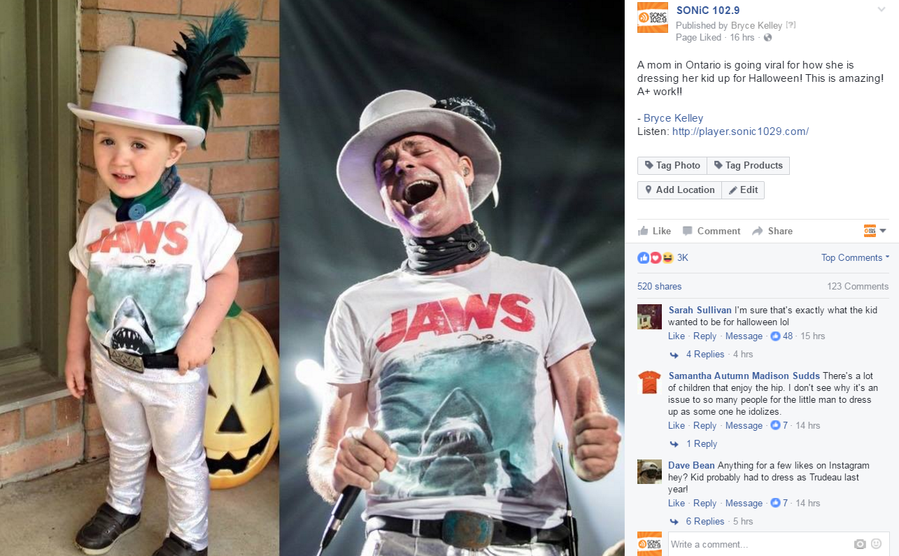 boy who dressed as gord downie for halloween given kudosthe