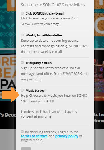 Choose The Music on SONiC and win cash! Sign up now! - SONiC 102 9